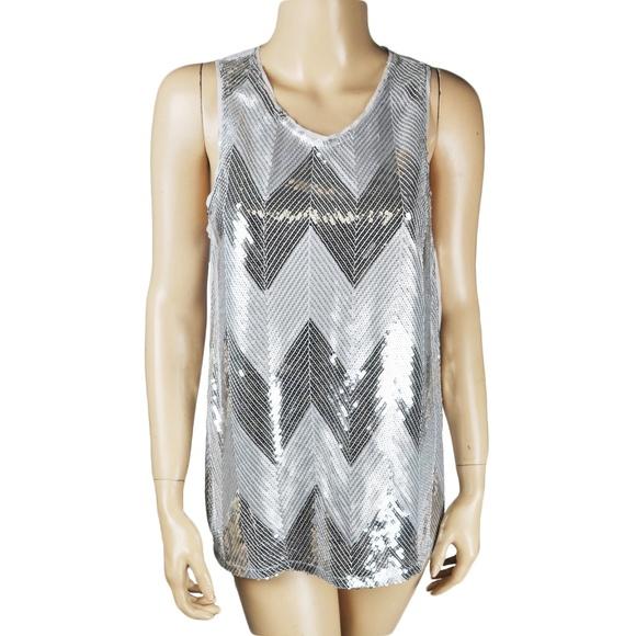 13fd7a7f20e78 Silver Sequin Shimmer Tank Top Shirt